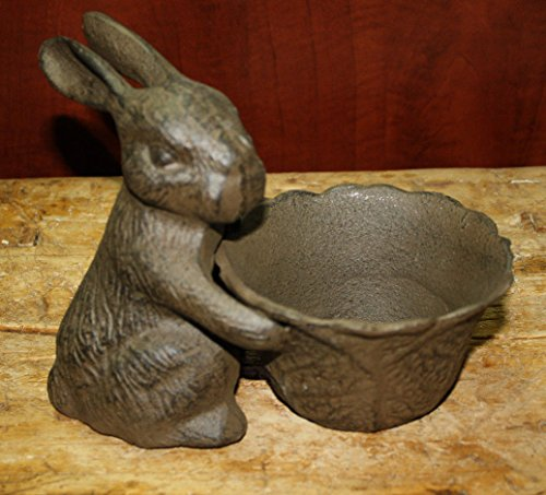 New Cast Iron by YourLuckyDecor Easter BUNNY BOWL Garden Statue Bird Feeder RABBIT Planter (Cast Iron Bunny)