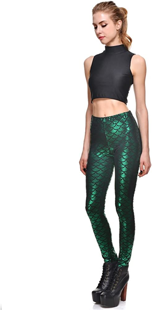 Lesubuy Bright Fish Scales Cute Stretchy Ankle Length Shiny Mermaid Tail Leggings for Women