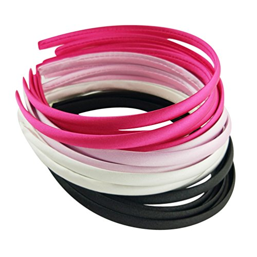Hixixi 20pcs pack Girls / Women Diy Satin Fabric Ribbon Headbands Width 10mm(5 Black 5 Wihte 5 Pink 5 Rose Color /set) -