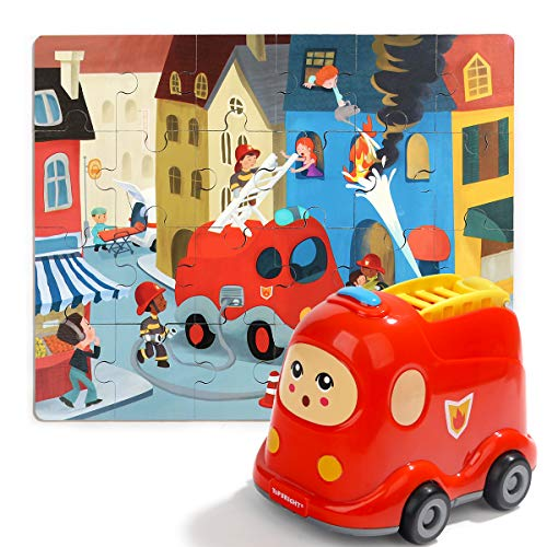 TOP BRIGHT Fire Trucks for Boys - Toddlers Car Toys for 3 Year Old Boy Girl Gifts - STEM Toy Educational Learning with 24 Pieces Wooden Puzzles in A Fire Truck