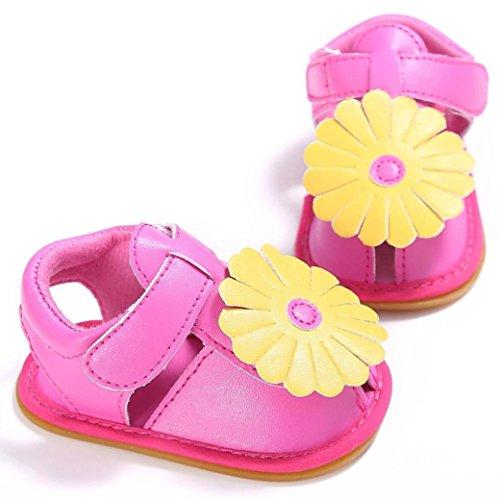 ... Saingace Neugeborene Baby Kinder Mädchen Blumen Design Schuhe Kleinkind  Soft Sole Schuhe Sandalen Hot Pink ...