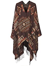 2LUV Women's Tribal Print Shawl Cardigan W/ Fringe Trim