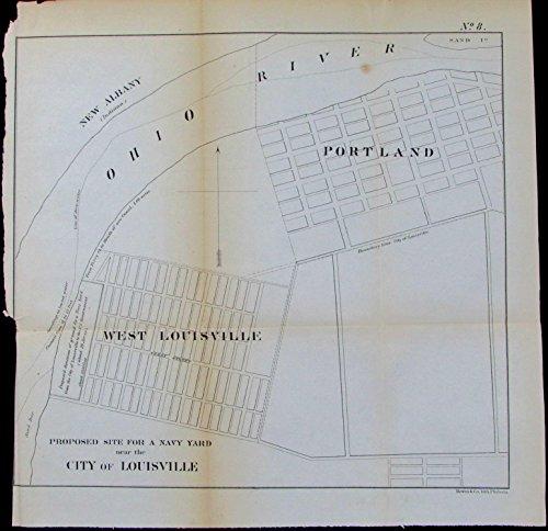- Proposed Navy Yard Louisville Portland Kentucky c.1855 Bowen old ground plan map