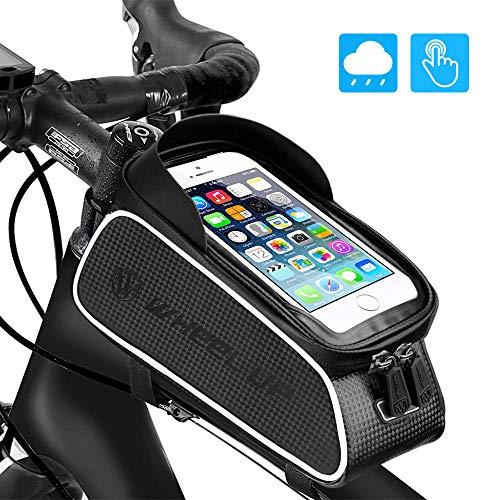 (UBEGOOD Bike Front Frame Bags, Bicycle Phone Bags Waterproof, Top Tube Mount Handlebar Storage Bag, Bike Phone Holder with Touch Screen Large Capacity, Cycling Pack Fit Phones Below 6.0