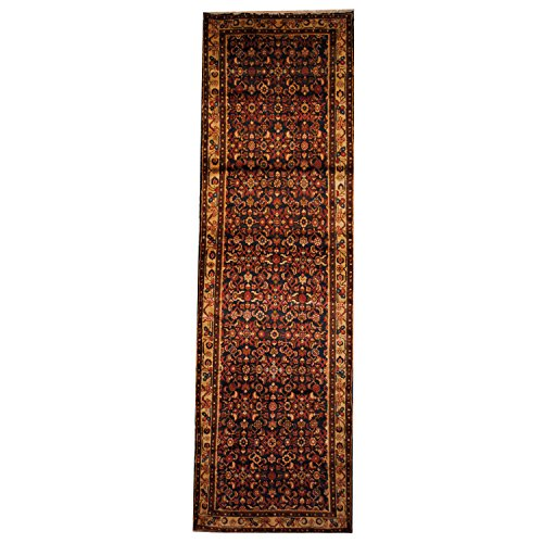 Herat Oriental SHOJ204 1970's Persian Hand-Knotted Tribal Hussainabad Hamadan Wool Rug, 3-Feet 8-Inch by 12-Feet 3-Inch, Navy/Ivory Wool Hamadan Persian Area Rugs
