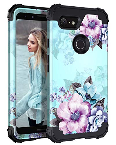 Casetego Compatible Google Pixel 3 Case, Floral Three Layer Heavy Duty Hybrid Sturdy Armor Shockproof Full Body Protective Cover Case for Google Pixel 3, Blue
