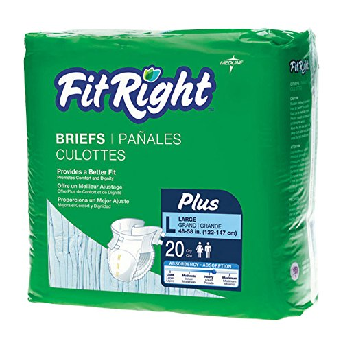 Medline Fitright Plus Briefs, X-Large, 20 Count (Pack of 12)