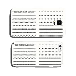 Hand drawn vector line border set and scribble design element cell phone cover case iPhone5