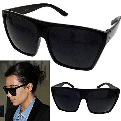 BLACK Oversized Large XL Big Sunglasses Kim Square Flat Aviator Retro Classic Womens (Black, - Big Wayfarers