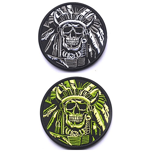 Bundle 2 Pieces Indian Features Patch Chief Head Skull Emblem Embroidered Fastener Hook and Loop Patch-Death Skull War Chief Indian USA Army Morale Military Tactical Swat Patches Badges (Black Green)