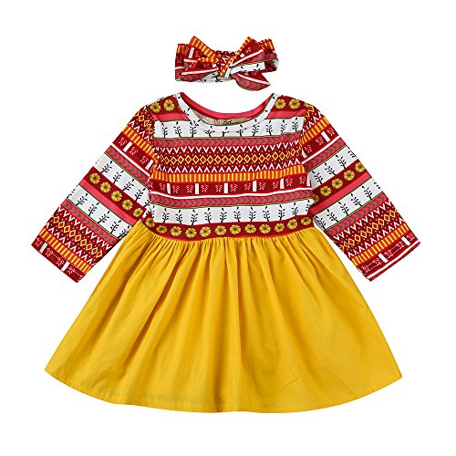 Sunbona Toddler Baby Girls Princess Cute Floral Print Autumn Dress With Headband Casual Party Outfits Cloths (12~18months, Multicolor)