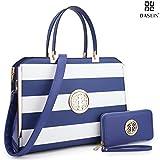 Dasein Women's Structured Designer Satchel Handbag Work Bag Shoulder Bag With Matching Wallet (02-6900 Blue/White)