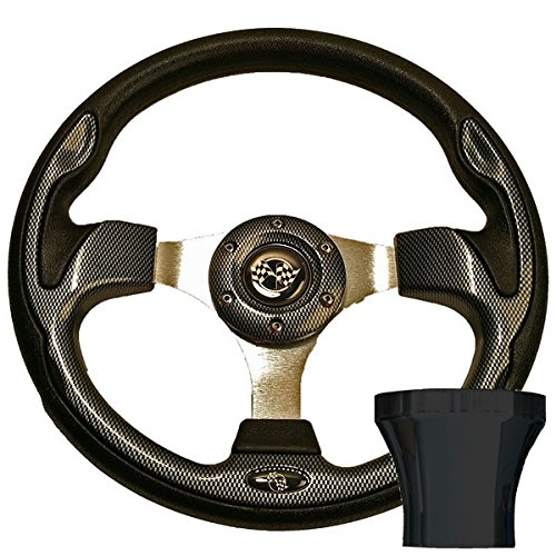 ULTIMATE GOLF CART CARBON FIBER STEERING WHEEL W/CHOICE OF BLACK OR CHROME ADAPTER FOR EZGO TXT (1994 & UP) (BLACK)
