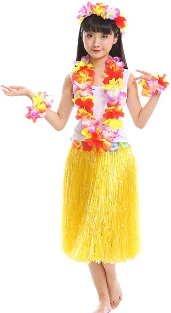 Haobing 5 in 1 Traje de fiesta Disfraces Hawaiana Falda Hula Luau ...
