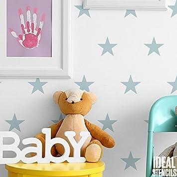 Wandschablone Kinderzimmer | Sterne Dupliziert Muster Kinderzimmer Wand Schablone Jungen