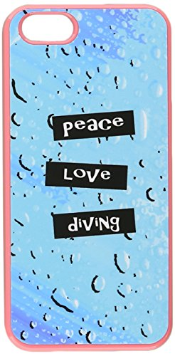 Graphics and More Peace Love Diving Snap-On Hard Protective Case for iPhone 5/5s - Non-Retail Packaging - Pink