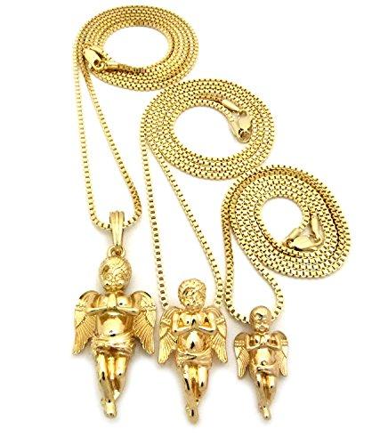 "Fashion 21 Gold Tone Micro Praying Baby Angel Pendant 24"",30"",36"" Box Chain 3 Necklace Set RC1102G"