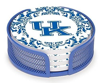 University of Kentucky Pattern Thirstystone VUKY3-HA27 Stoneware Drink Coaster Set with Holder