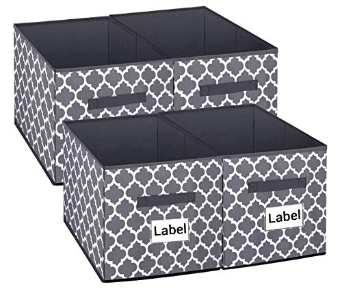Homyfort Cloth Storage Bins, Foldable Cubes Box Basket Organizer Container Drawers with Dual Plastic Handles for Closet, Bedroom, Toys,Set of 4 Grey Lantern Pattern -