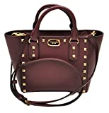 Michael Kors Sandrine Stud Small Crossbody Saffiano Leather Bag Handbag (Plum)