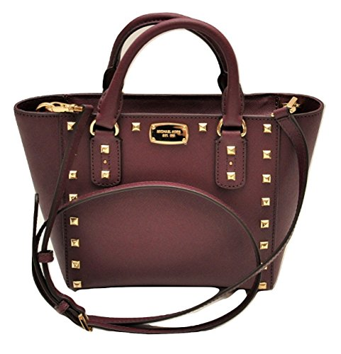 Michael Kors Sandrine Stud Small Crossbody Saffiano Leather Bag Handbag (Plum) by Michael Kors