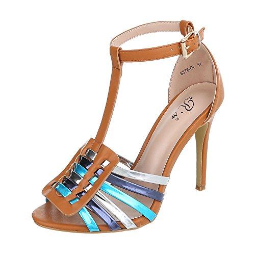 Ital-Design High Heel Sandaletten Damenschuhe Plateau Pfennig-/Stilettoabsatz High Heels Schnalle Sandalen/Sandaletten Camel Multi