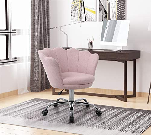 Artiron Swivel Shell Chair for Living Room Bedroom Modern Leisure Arm Chair,Modern Fabric Vanity Chair with Wheels Pink