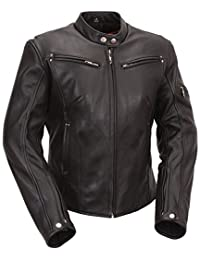 Ladies Black Leather Biker jacket with European Scooter Styling