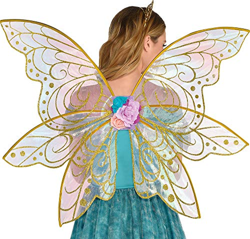Glitter Gold Fairy Wings Costume Accessory for Adults and Teens, One Size, with Attached Fabric Flowers, by -