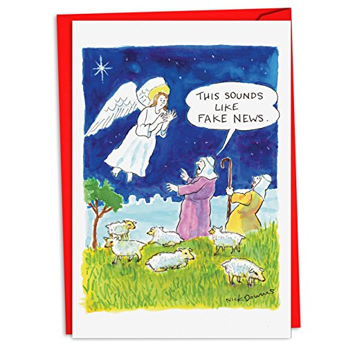 (12 'Fake News Angel Boxed Christmas' Hilarious Greeting Cards (4.75 x 6.625 Inch), Merry Xmas Cards w/Envelopes for Holidays and Gifts, Stationery Set with Cartoon Angels and Shepherds C4526XSG-B12)