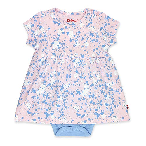 Zutano Booties - Zutano Baby Girl Organic Cotton Summer Dress, Pink Splatter Paint/Romper, 9M