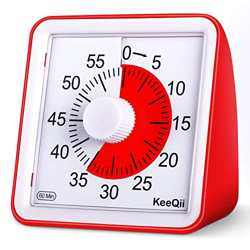 KeeQii 60 Minute Visual Timer Silence Countdown Timer Time Management Tool for Classroom Teaching or Meeting Digital Timer for Kids and Adults ()