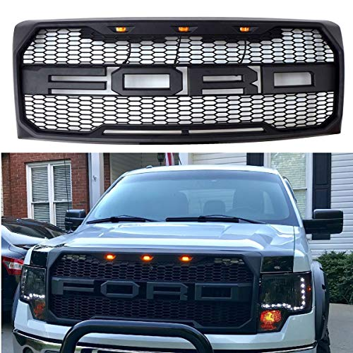 TIKSCIENCE Fit 2009-2014 Ford F-150 F150 Grille Matte BLACK Raptor Style Conversion Grill ()