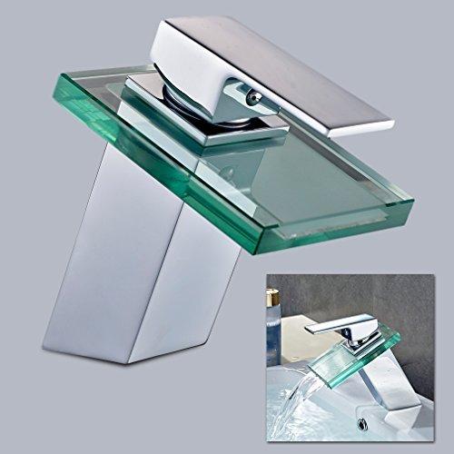 10 opinioni per Auralum® Miscelatore acqua cascata rubinetto di vetro alta qualità per il