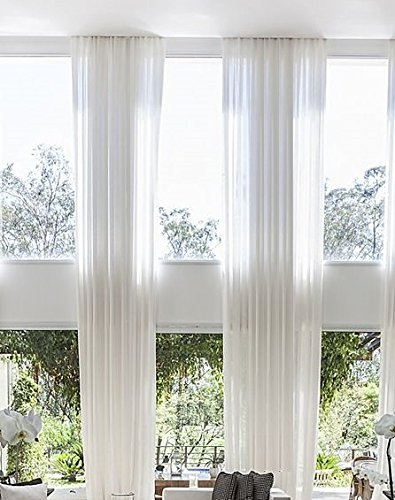 Ikiriska 2 Long Sheer Curtains for 2 Story high Ceiling, Custom Made Length 12, 15, 16, 18, 20, 22, 24 feet Long for Living Room Wide Drapes (Off White) (Curtains Two Story)