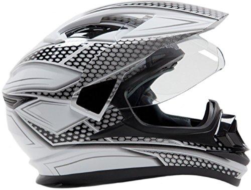 Dual Sport Helmet Combo w/Gloves - Off Road Motocross UTV ATV Motorcycle Enduro - Silver, Black - XXL by Typhoon Helmets (Image #2)