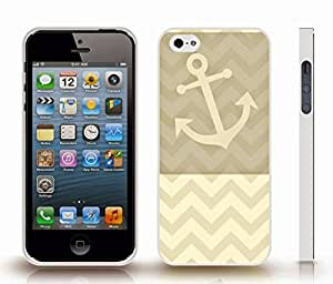 iStar Cases? iPhone 4 Case with Chevron Pattern Light Wheat Brown Tone Stripes Beige Anchor , Snap-on Cover, Hard Carrying Case (White)