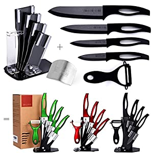 Razor Sharp, Anti Germ, PREMIUM Kitchen Knives, Professional, 7 Piece Black Ceramic Knife Set, Four Double-Edged Ceramic Knives, Ceramic Peeler, Knife Holder + FREE GIFT Finger Shield by Zirconia