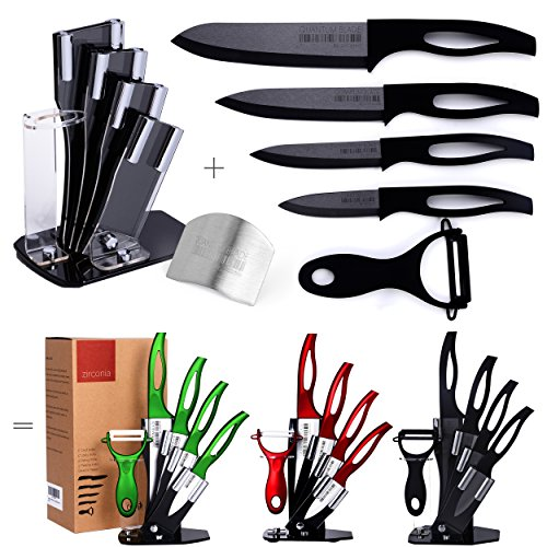 Razor Sharp, Anti Germ, PREMIUM Kitchen Knives, Professional, 7 Piece Black Ceramic Knife Set, Four Double-Edged Ceramic Knives, Ceramic Peeler, Knife Holder + FREE GIFT Finger Shield by Zirconia (Ceramic Knives Block With Set)