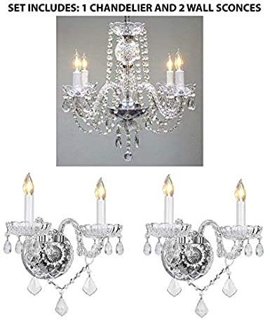 3pc lighting set crystal chandelier and 2 wall sconces amazon 3pc lighting set crystal chandelier and 2 wall sconces aloadofball Images