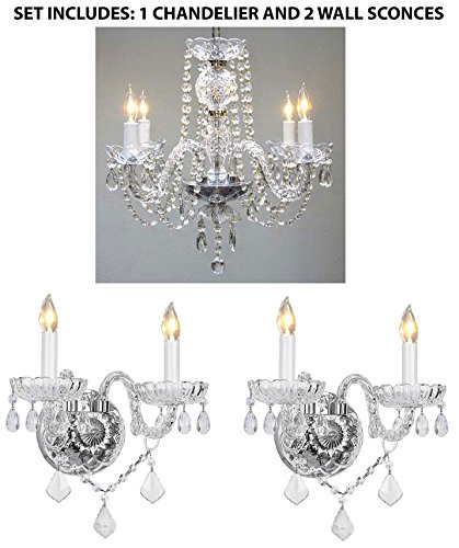 3pc lighting set crystal chandelier and 2 wall sconces amazon aloadofball Image collections