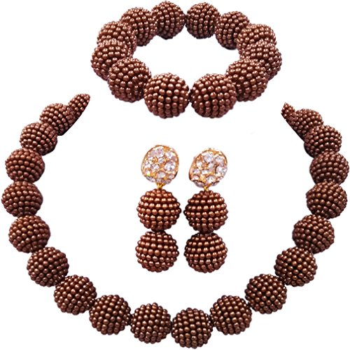 laanc Fashion Women 1 Rows Multicolor Plastic Imitation Pearl Nigerian Wedding Beads African Jewelry Sets (Brown)