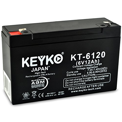 12ah Sealed Lead Acid Battery (National Power Corporation GS026RWLP 6V 12Ah SLA Sealed Lead Acid AGM Rechargeable Replacement Battery Genuine KEYKO F1)