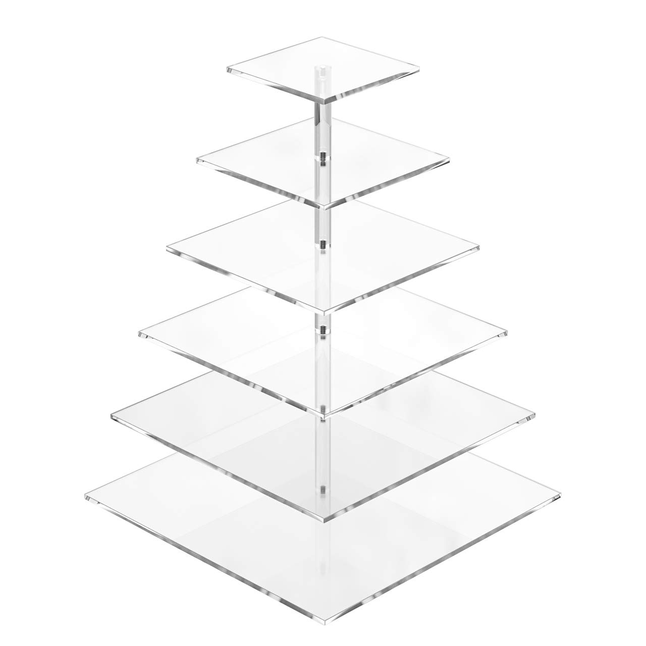6 Tiered Acrylic Cupcake Stand Square Cupcake Towers and Tier Stand Clear Cake Holder Pastry Serving Platter for Wedding Holidays Buffets Birthday Party by HIIMIEI