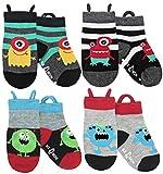 Toddler Boys Socks Non Skid Cotton Seamless Toe Anti Slip Grip, Monsters, medium