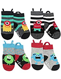 Toddler Boys Girls Non Skid Cotton Seamless Toe Socks Anti Slip Grip, Pull Up Loops