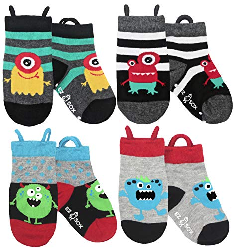 Boys, Girls, Kids, Toddler Socks, Seamless, Non Skid Grips Animal Ez Socks (Small, Monsters)]()