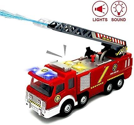 Tongs Camiones de Juguetes para niños pequeños - Camión de Bomberos con Luces y Sirenas y Funciones de Escalera Extensible y Disparos de Agua: Amazon.es: Juguetes y juegos