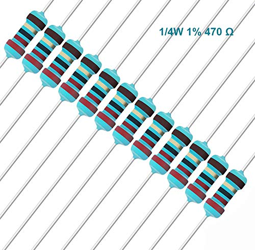 EDGELEC 100pcs 470 ohm Resistor 1//4w /±1/% Tolerance Metal Film Fixed Resistor 0.25 Watt