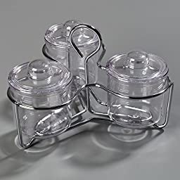 Carlisle 457307 Condiment / Jam Jar Caddy with 3 Plastic J-Jars & Lids, Clear